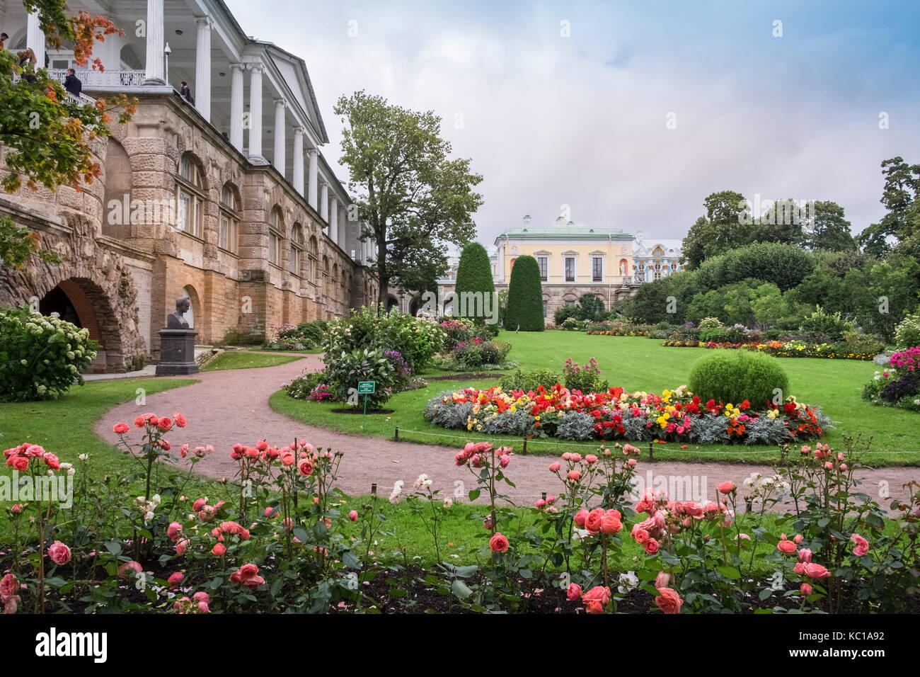 Palace gardens, Catherine Palace (Tsarskoe Selo), Pushkin, St. Petersburg, Russia - Stock Image