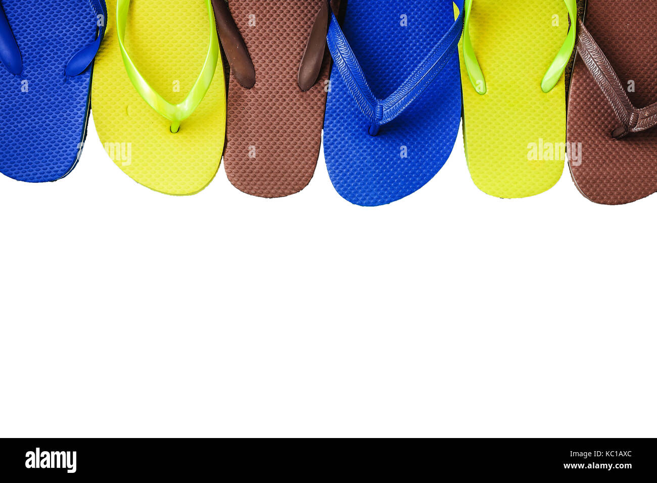 5745046815f6 Several pairs of multi-colored rubber flip-flops exhibited in a row ...