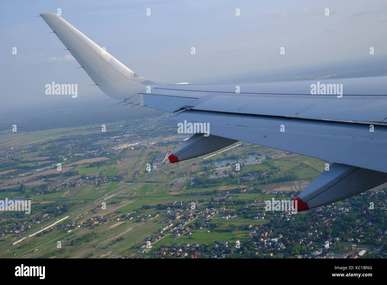 Passenger aircraft approaching Okecie International, Chopin Airport, Warsaw, Poland - Stock Image