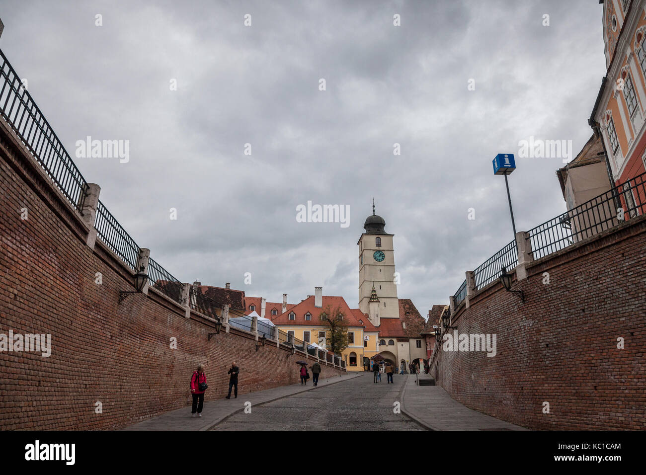 SIBIU, ROMANIA SEPTEMBER 22, 2017: Upper town of Sibiu, in Transylvania, during a cloudy afternoon in a medieval - Stock Image