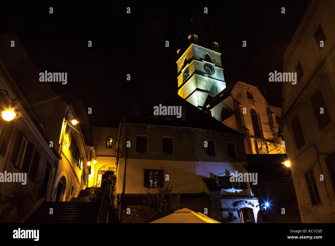 SIBIU, ROMANIA SEPTEMBER 22, 2017: Upper town of Sibiu, in Transylvania, in the evening in a medieval street of - Stock Image