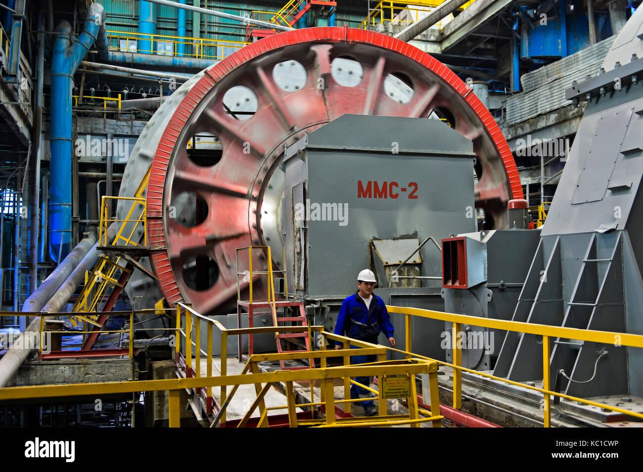 Ball mill for grinding larger rocks of copper ore, Erdenet Mining Corporation EMC, Erdenet Copper Mine, Erdenet, - Stock Image