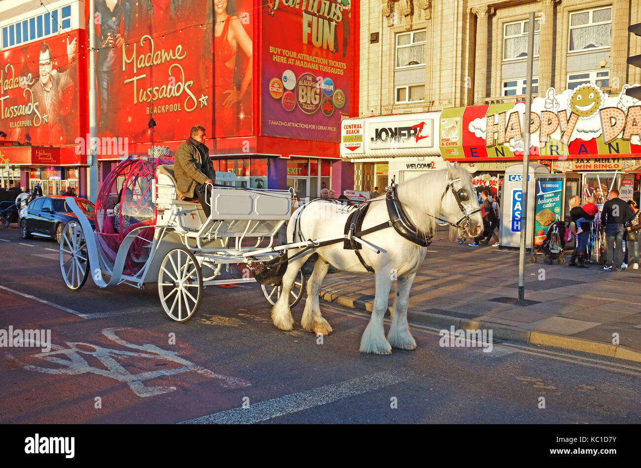 a horse drawn carriage ride along the golden mile in blackpool, england, uk. - Stock Image