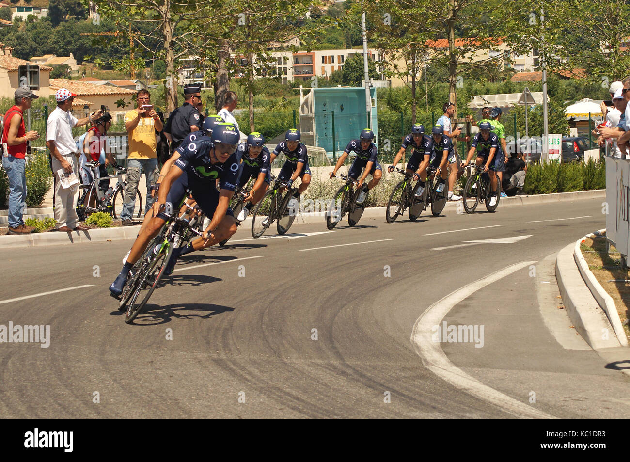 NICE - JULY 2ND : The TOUR 2013  (Tour de France). MOVISTAR Team during Nice/Nice Stage 4 (25 km)... - Stock Image