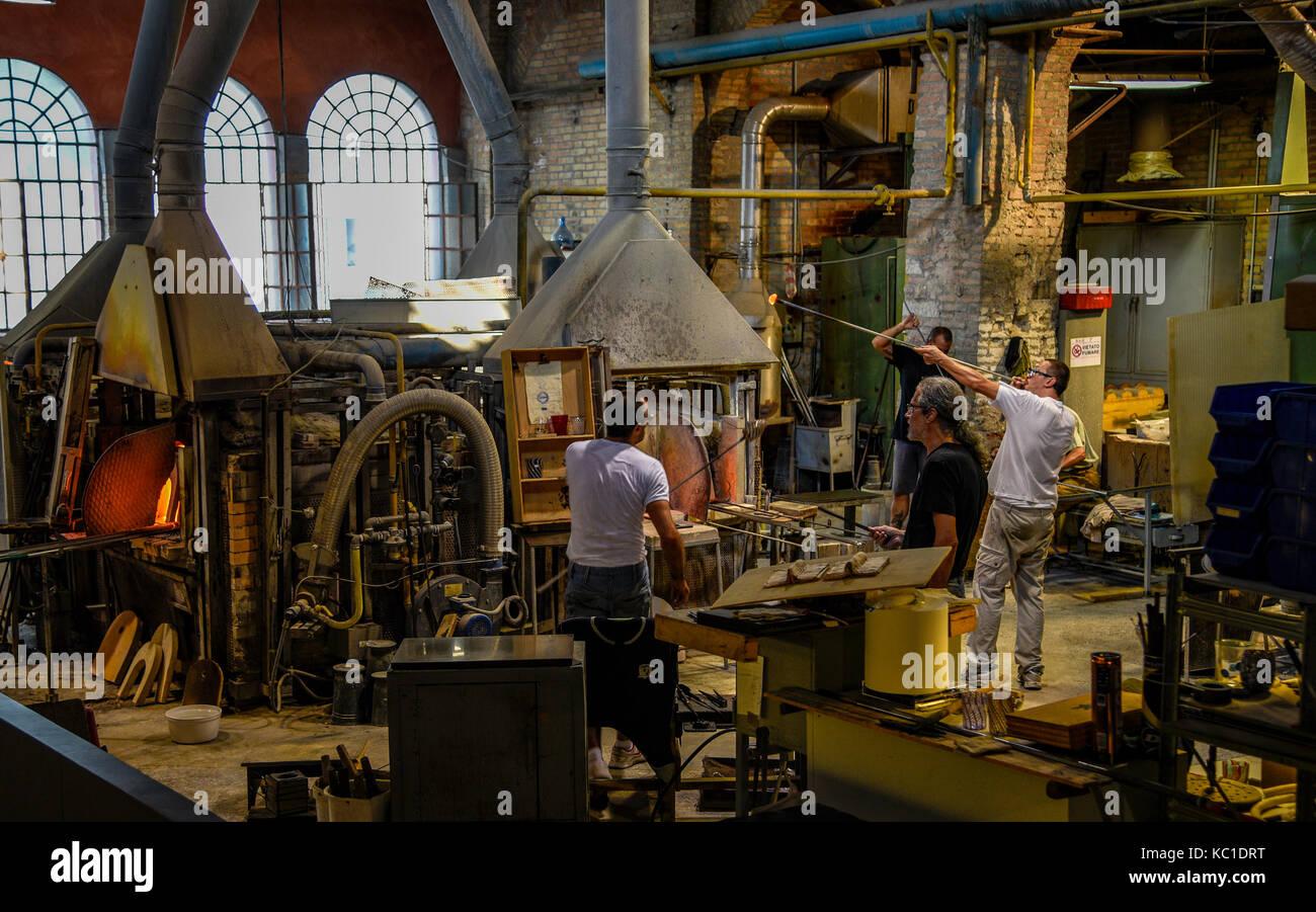 Murano Glass Factory.Murano Island Glass Factory Hand Blown Artisan Glass Stock