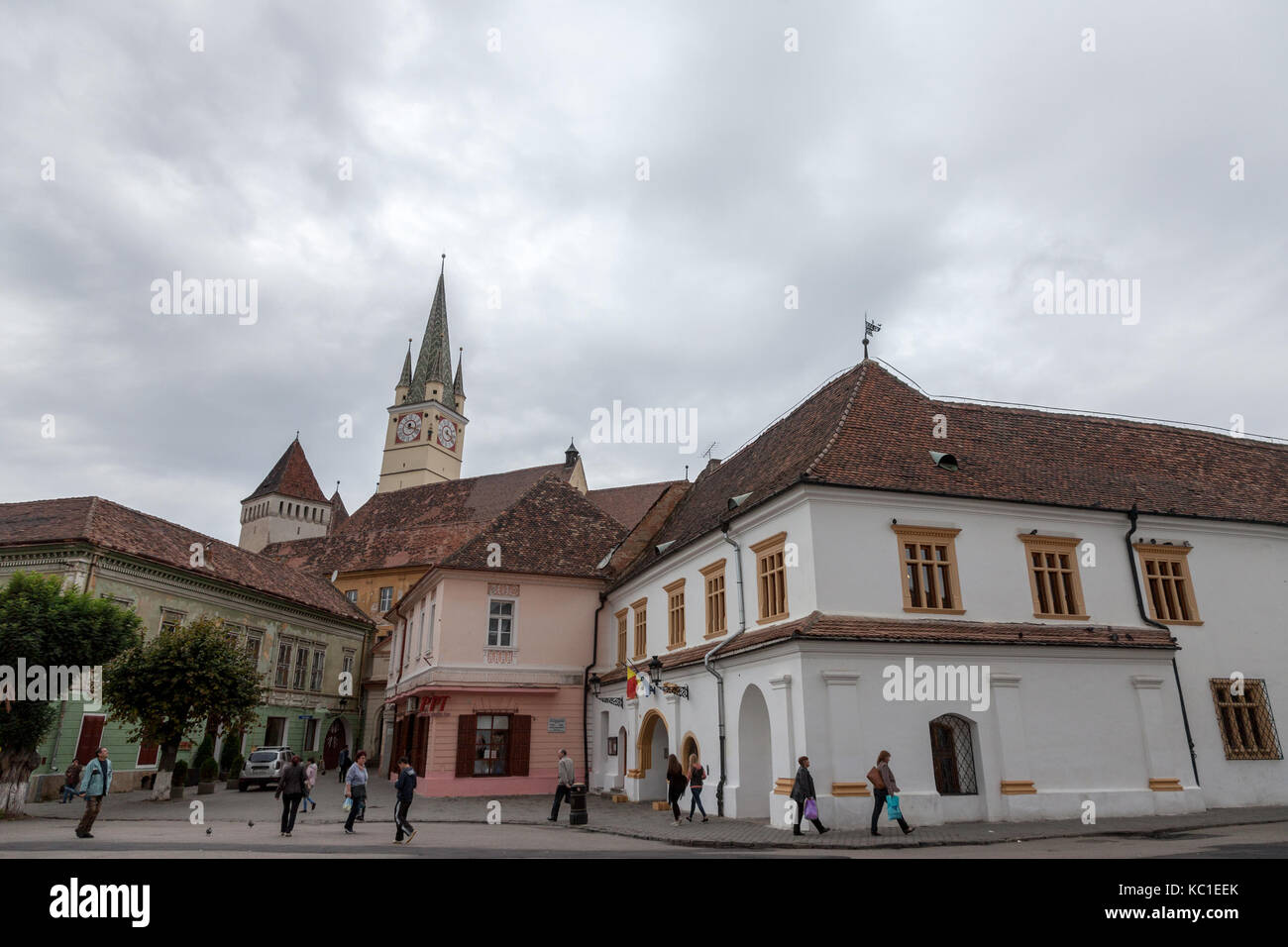 MEDIAS, ROMANIA - SEPTEMBER 22, 2017: Saint Margaret (Sf. Margareta) church in the afternoon seen from the main - Stock Image