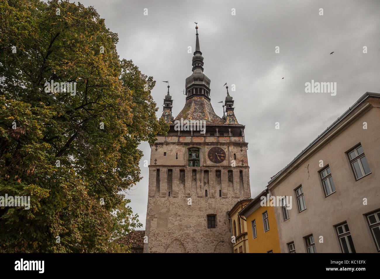 Sighisoara Clock Tower (Turnul cu Ceas) during a cloudy fall afternoon. It is the main entrance of Sighisoara castle, - Stock Image
