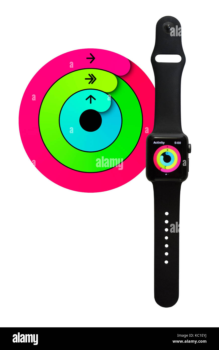 Apple Watch Series 2 38mm With Space Gray Aluminum Black Sport Band Showing The Colorful Rings Of Activity Fitness Tracker App