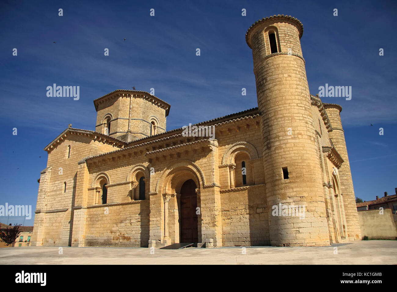 Romanesque Church Fromista on the way to Santiago, Palencia, Spain - Stock Image