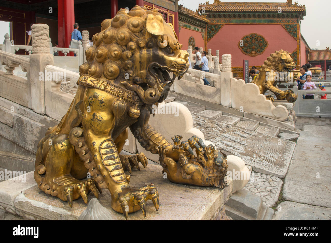 Golden Lion at Hall of Preserving Harmony in Forbidden City, Beijing, China - Stock Image