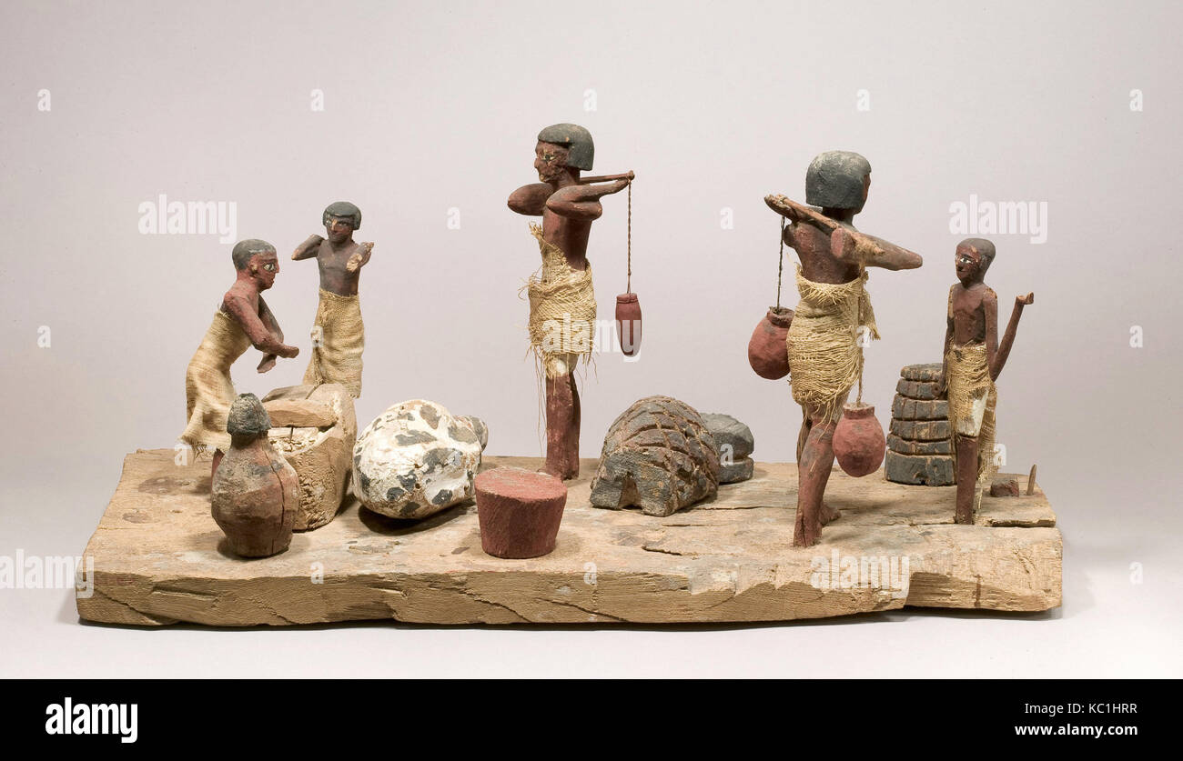 Model farmyard and butchery, Middle Kingdom, Dynasty 11–mid 12, ca. 2030–1850 B.C., From Egypt, Middle Egypt, Asyut - Stock Image