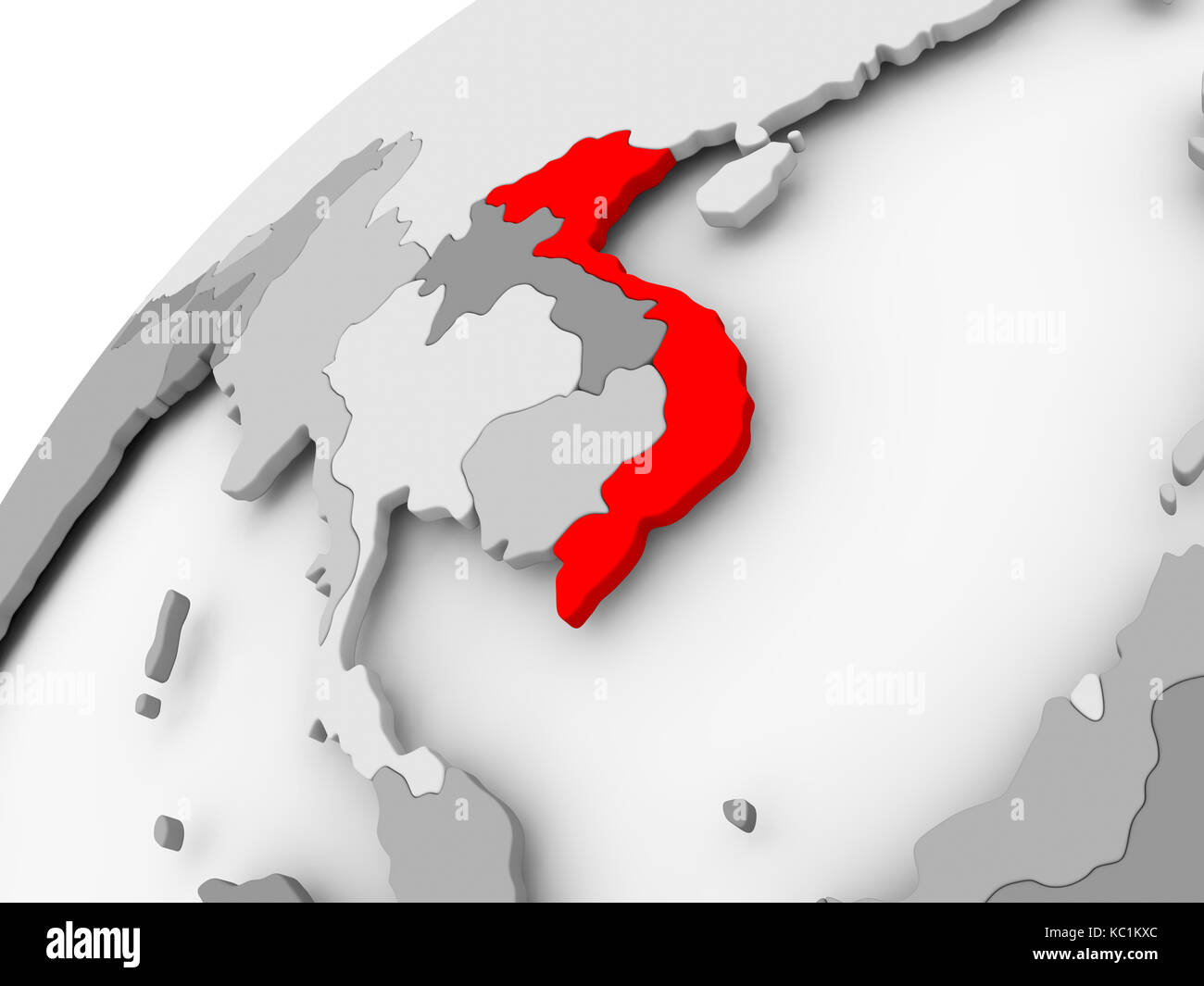 Picture of: Map Of Vietnam In Red On Grey Political Globe 3d Illustration Stock Photo Alamy