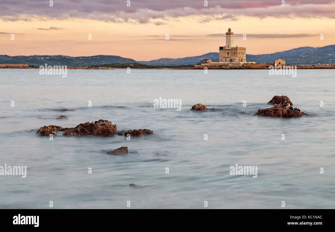 A view of lighthouse in Olbia gulf Stock Photo