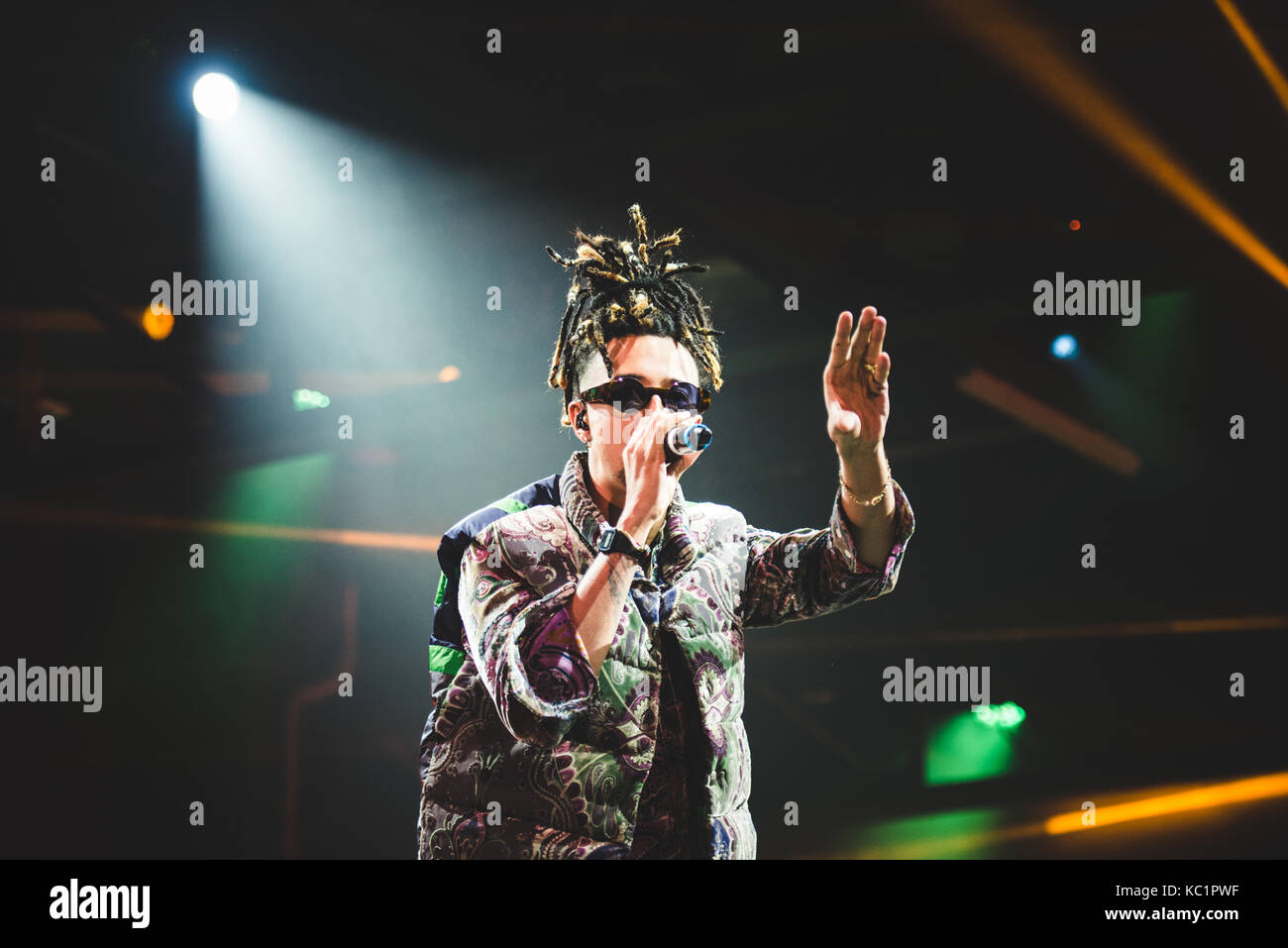Torino, Italy. 30th Sep, 2017: The italian rapper Ghali performing live on stage at the Officine grandi Riparazioni Stock Photo