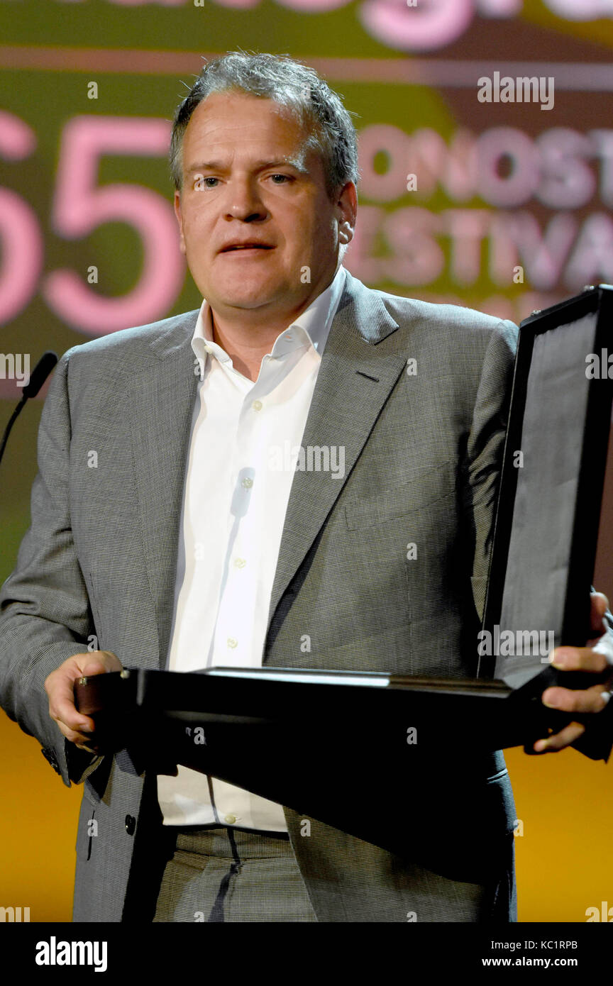 Florian Ballhaus receives the Silver Shell award for best photography during 65th San Sebastian Film Festival at - Stock Image