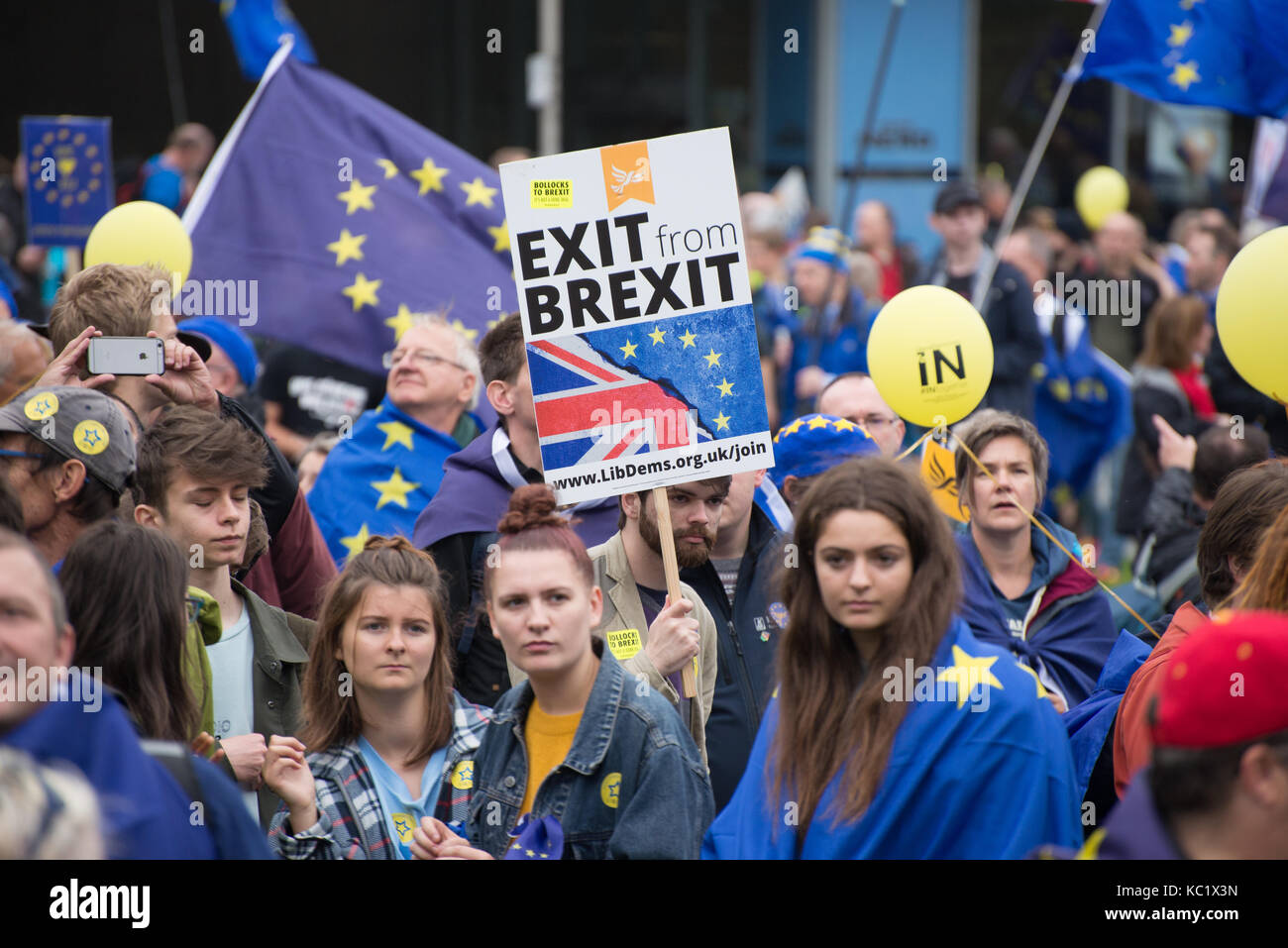 Manchester, UK. 1st October, 2017. People participate in the '#StopBrexit' demonstration in Manchester, United Kingdom, Stock Photo