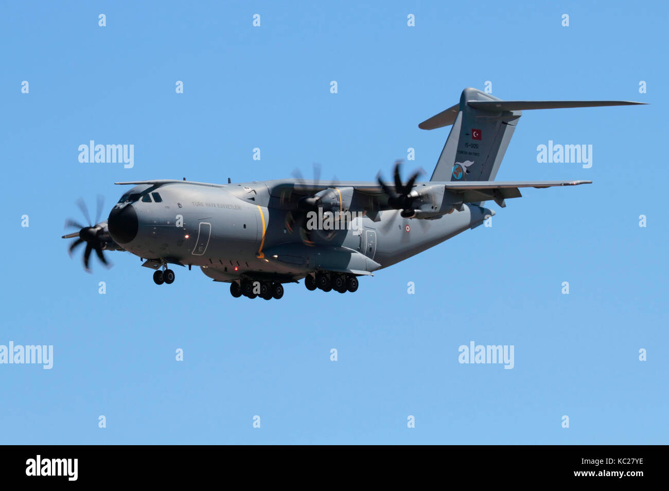 Airbus A400M Atlas heavy military turboprop transport plane of the Turkish Air Force Stock Photo