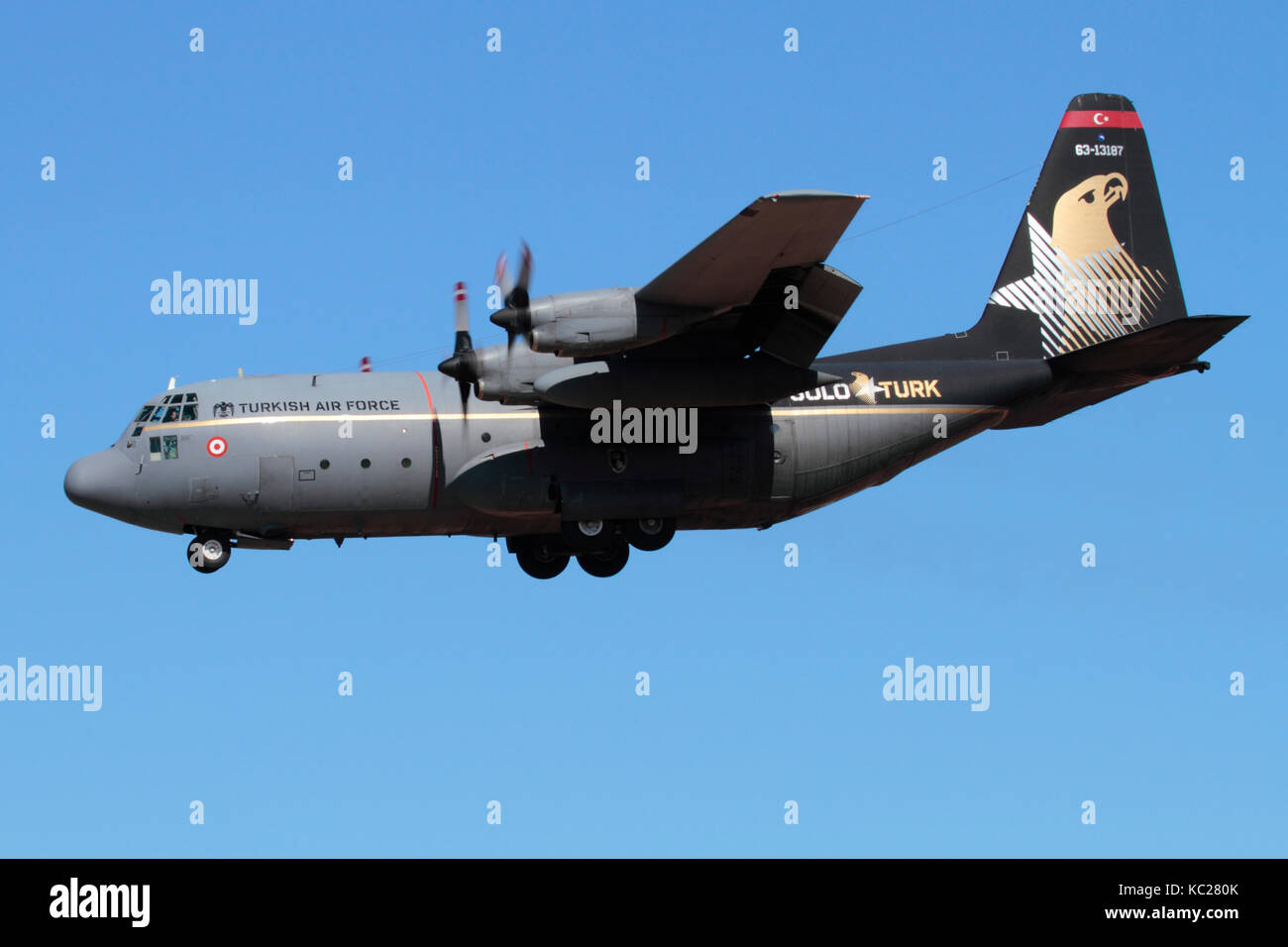 Military aviation. Turkish Air Force Lockheed C-130E Hercules medium tactical airlift aircraft - Stock Image