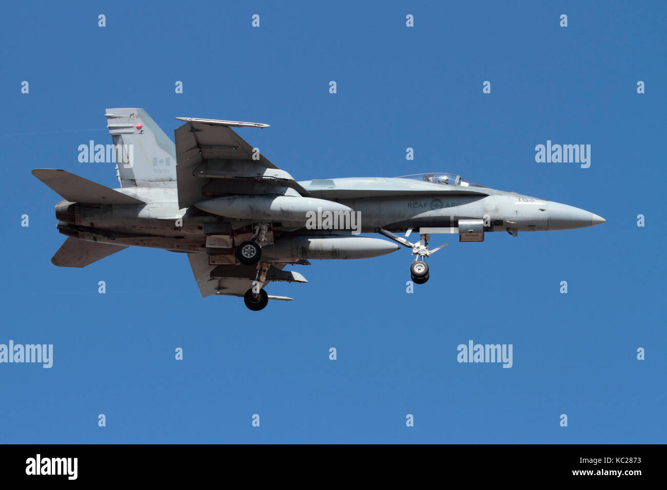 Modern military aviation. Royal Canadian Air Force CF-18 (CF-188) Hornet jet fighter plane on approach Stock Photo