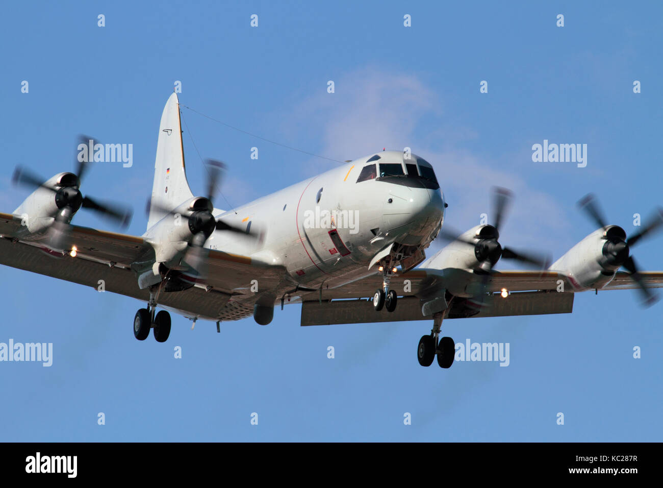 Military aviation. German Navy P-3C Orion four-engine turboprop maritime patrol aircraft on approach. Front view - Stock Image