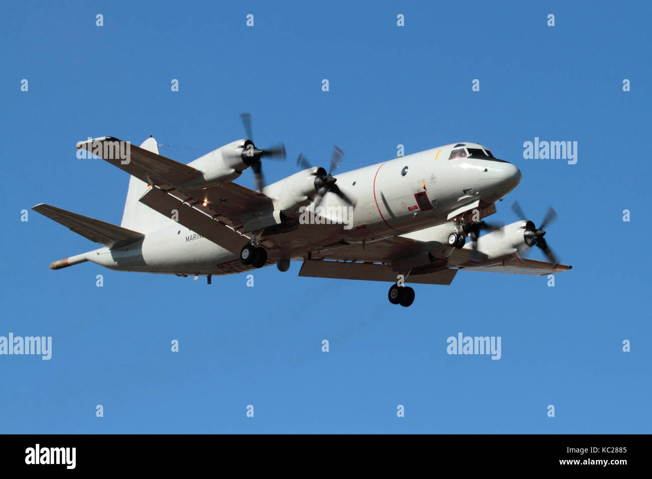 Military aviation. German Navy P-3C Orion maritime patrol aeroplane in flight - Stock Image