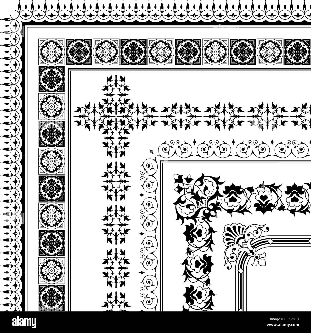 Big set of border corner design elements - vector