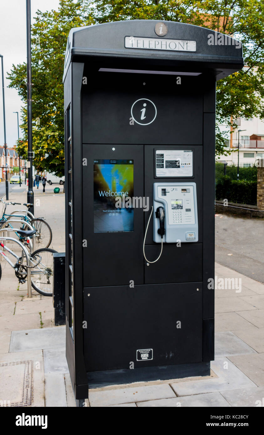 New World Payphones - hi-tech, wifi enabled, touchscreen. This payphone is in South Ealing, London W5, England, - Stock Image