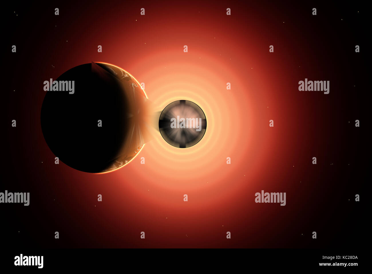 A Rogue Planet Being Pulled Into A Black Hole. - Stock Image