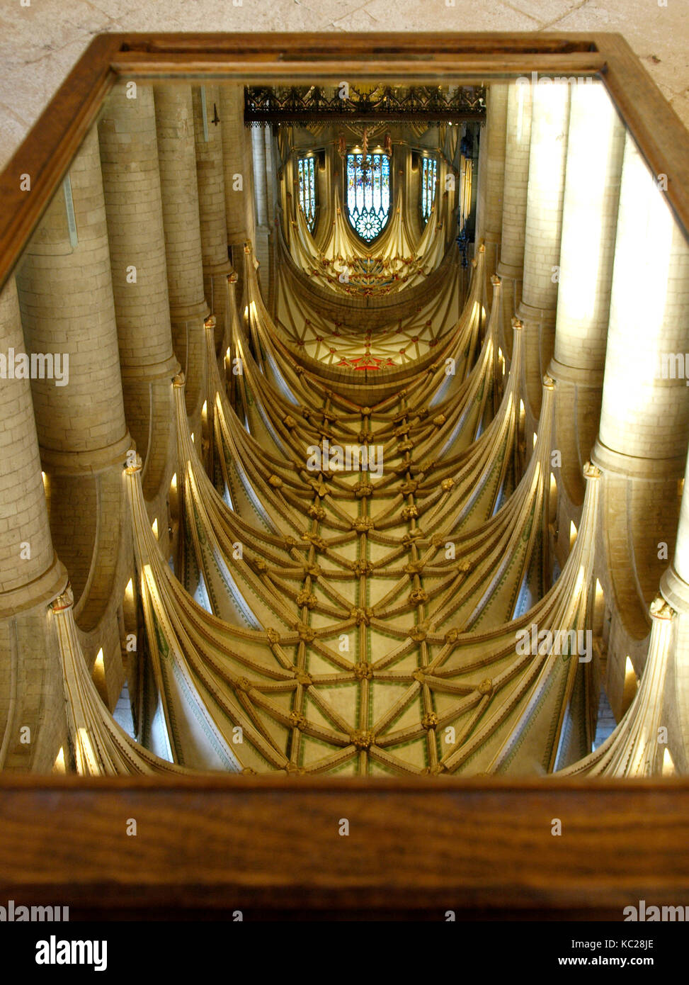 Ceiling of Tewkesbury Abbey viewed through a viewing mirror, Tewkesbury Abbey, Gloucestershire, UK - Stock Image