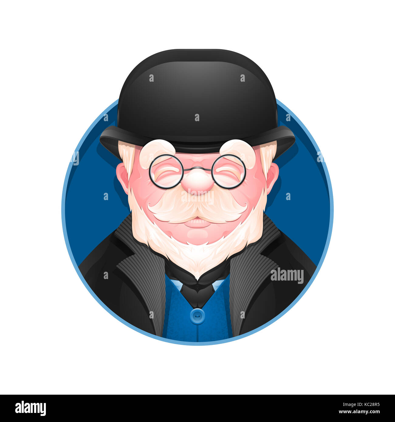 Avatar icon. Portrait of adult business man in bowler hat. Cartoon englishman. - Stock Image