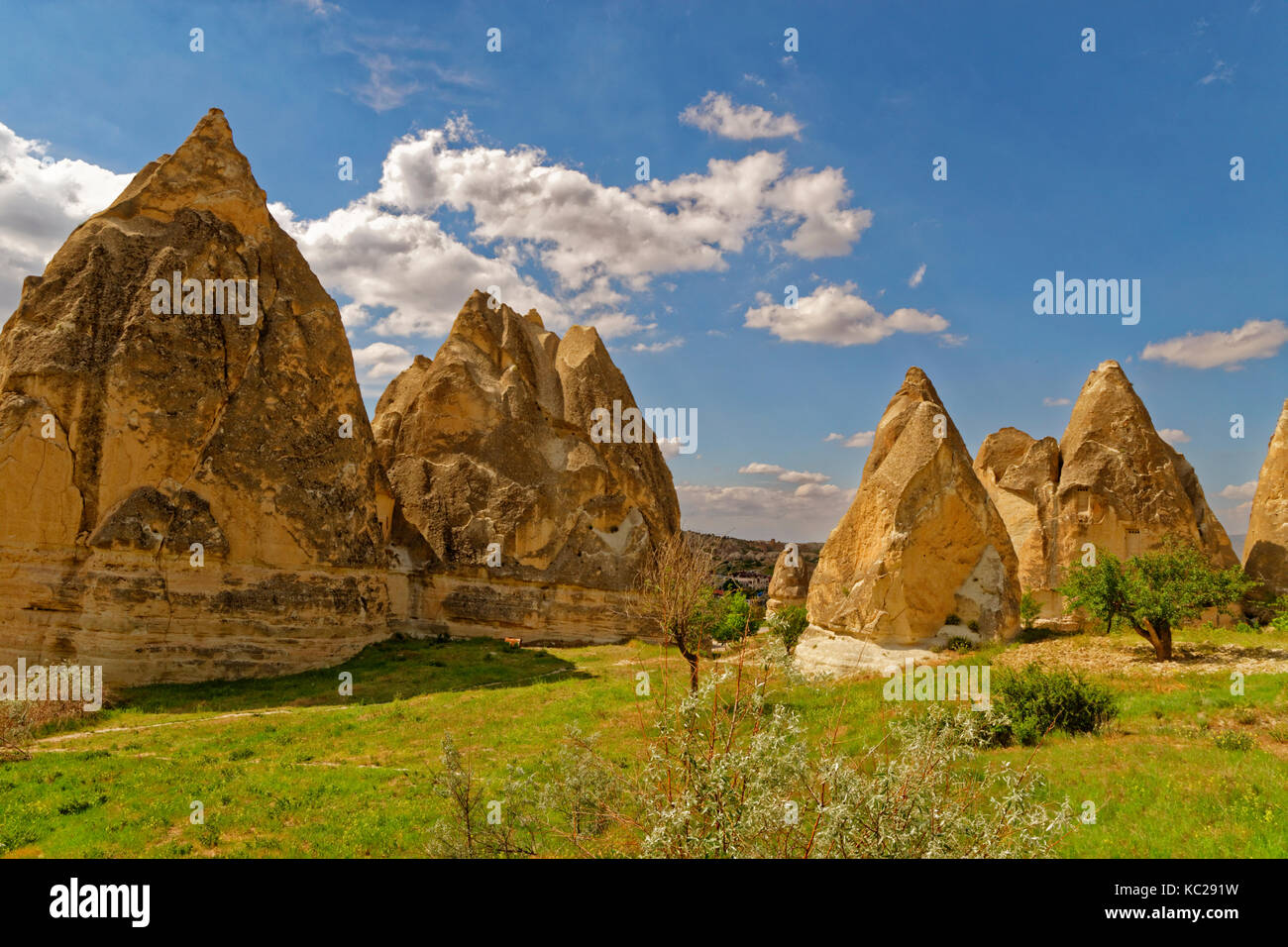 Eroded sandstone formations and cave dwellings at Goreme National Park, Nevsehir, Cappadocia, Turkey. - Stock Image