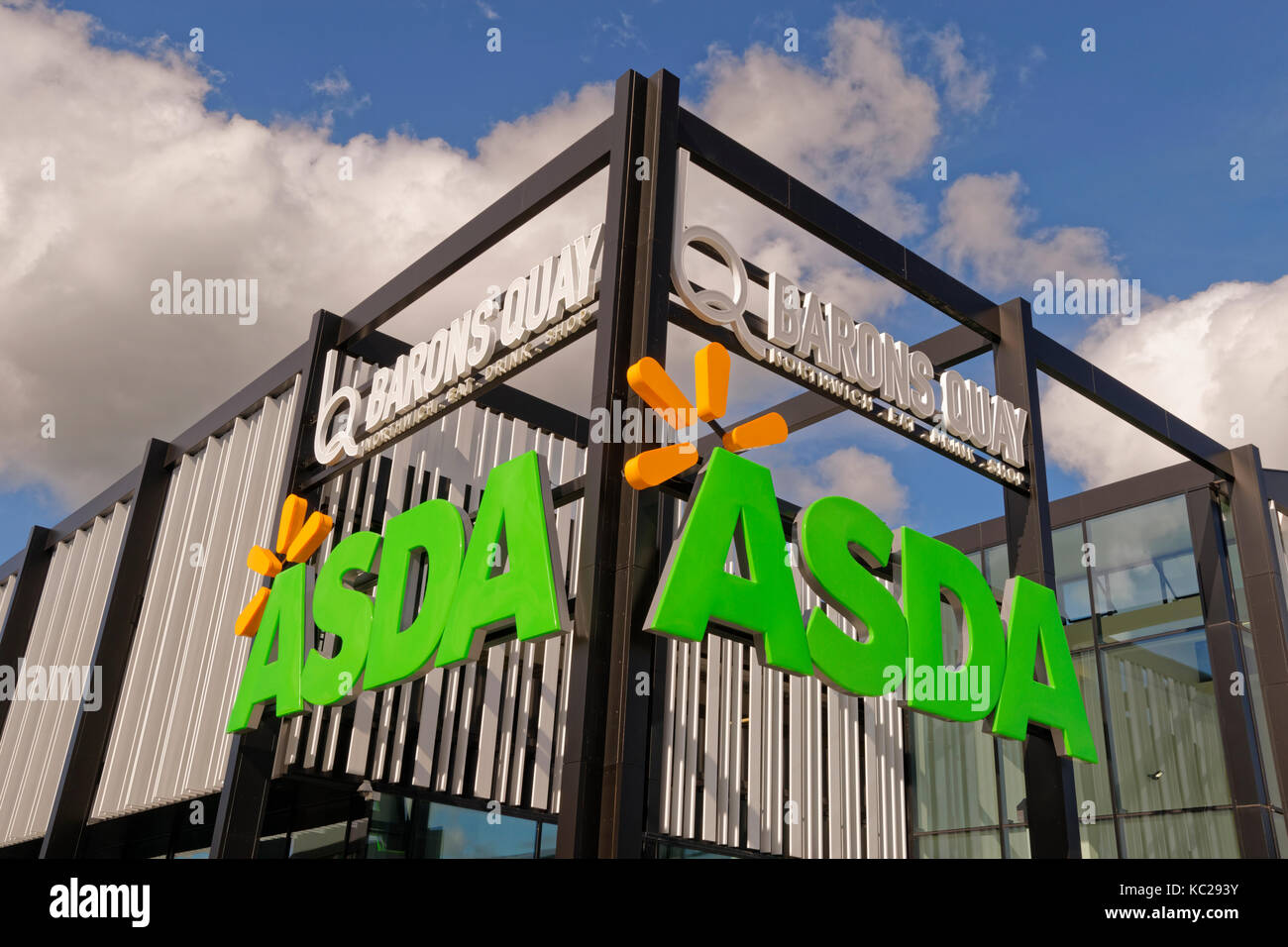 Signage at the new Asda store at Barons Quay in Northwich, Cheshire, England, UK. - Stock Image