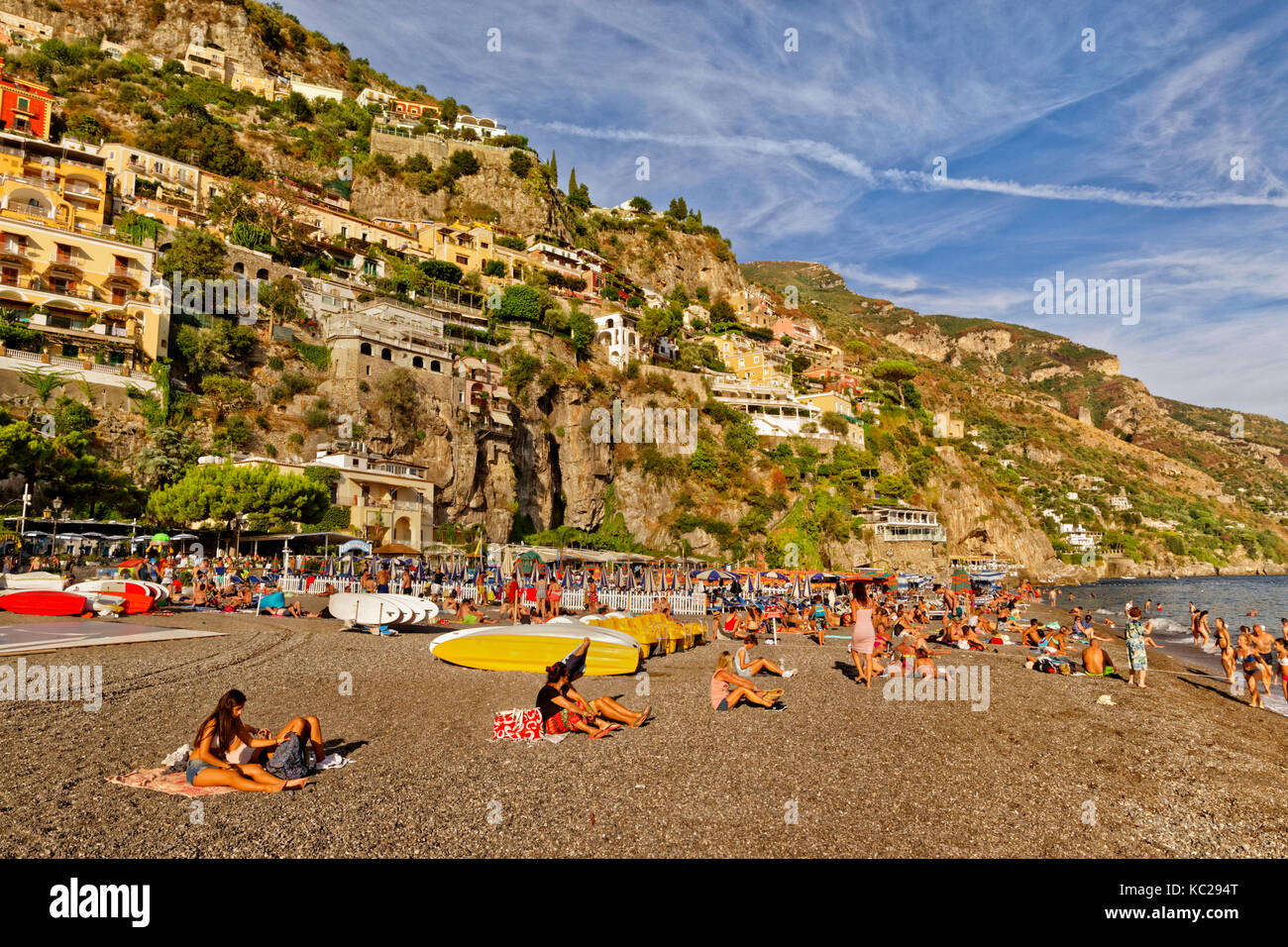 Beach at Positano on the Amalfi Coast in southern Italy. - Stock Image