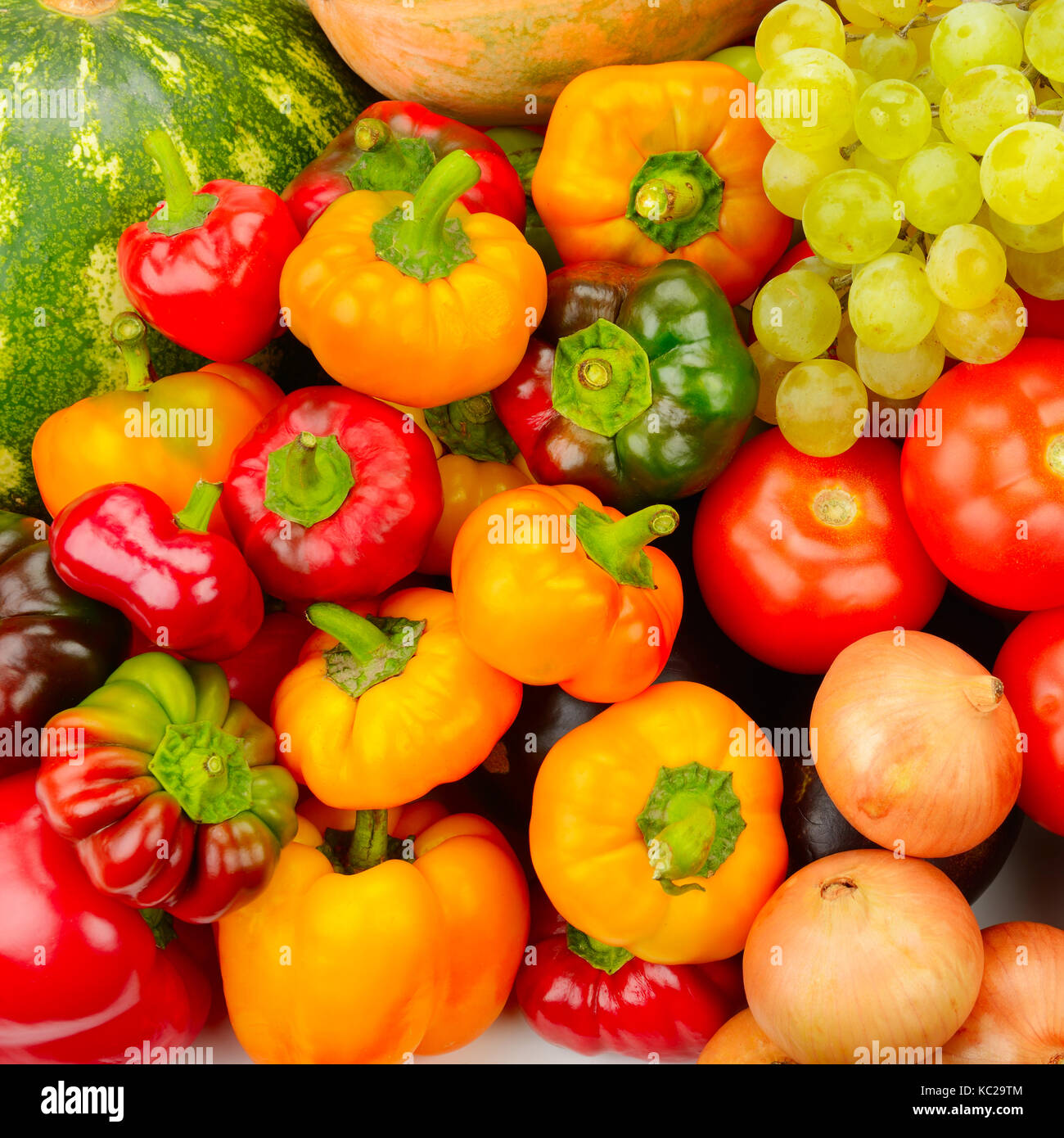 Collection fruit and vegetables background Stock Photo