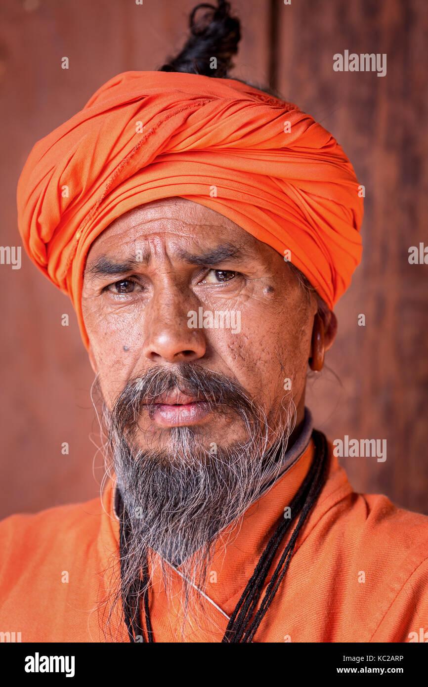 Portrait of an elderly Sadhu, holy man, Pashupatinath, Kathmandu, Nepal Stock Photo