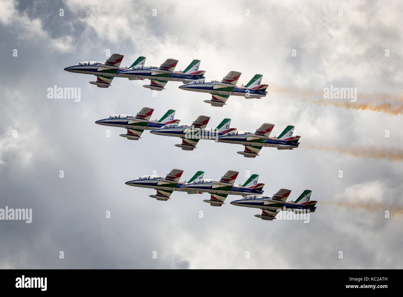 Frecce Tricolori, Aerobatic team of Italian airforce, Sion Airshow, Sion, Valais, Switzerland, Stock Photo