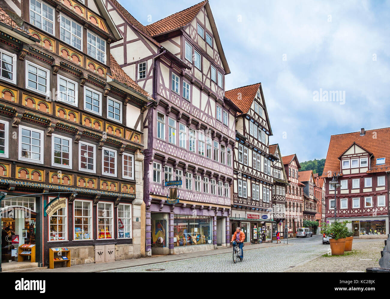 Germany, Lower Saxony, Hann. Münden, medieval half-timbered houses at the market square Stock Photo