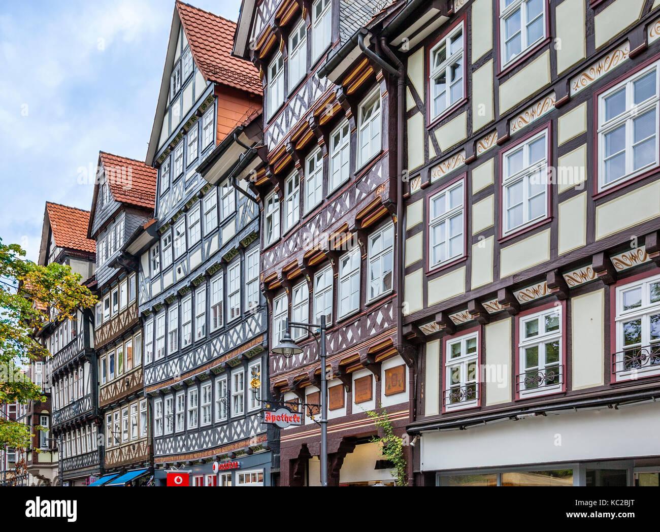 Germany, Lower Saxony, Hann. Münden, medieval half-timbered houses at Lange Strasse Stock Photo