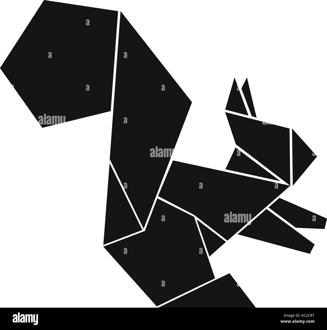 Squirrel Logo Vector Stock Photos Advanced Origami Fox Instructions Diagram Of The Icon Simple Black Style Image