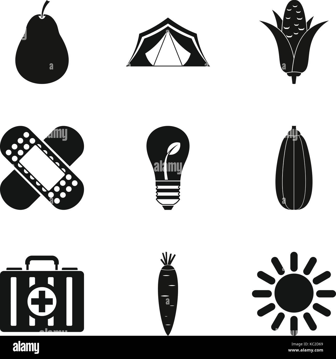 Sanitation icons set, simple style - Stock Image