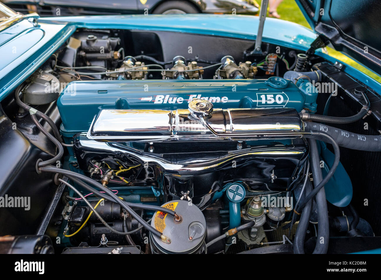 Blue Chevrolet Corvette Engine Compartment Showing All Components Kc Dbm on Classic Inline 6 Cylinder Engines