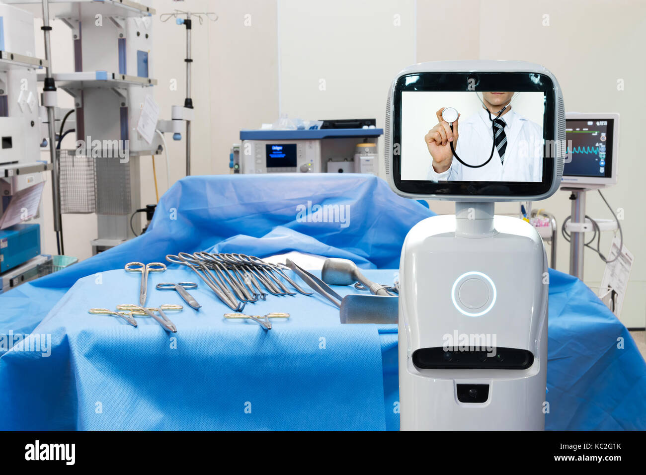 Robotic Advisor Service Technology In Healthcare Smart Hospital Artificial Intelligence Concept Operating Room And Service Robot Display Telemonito