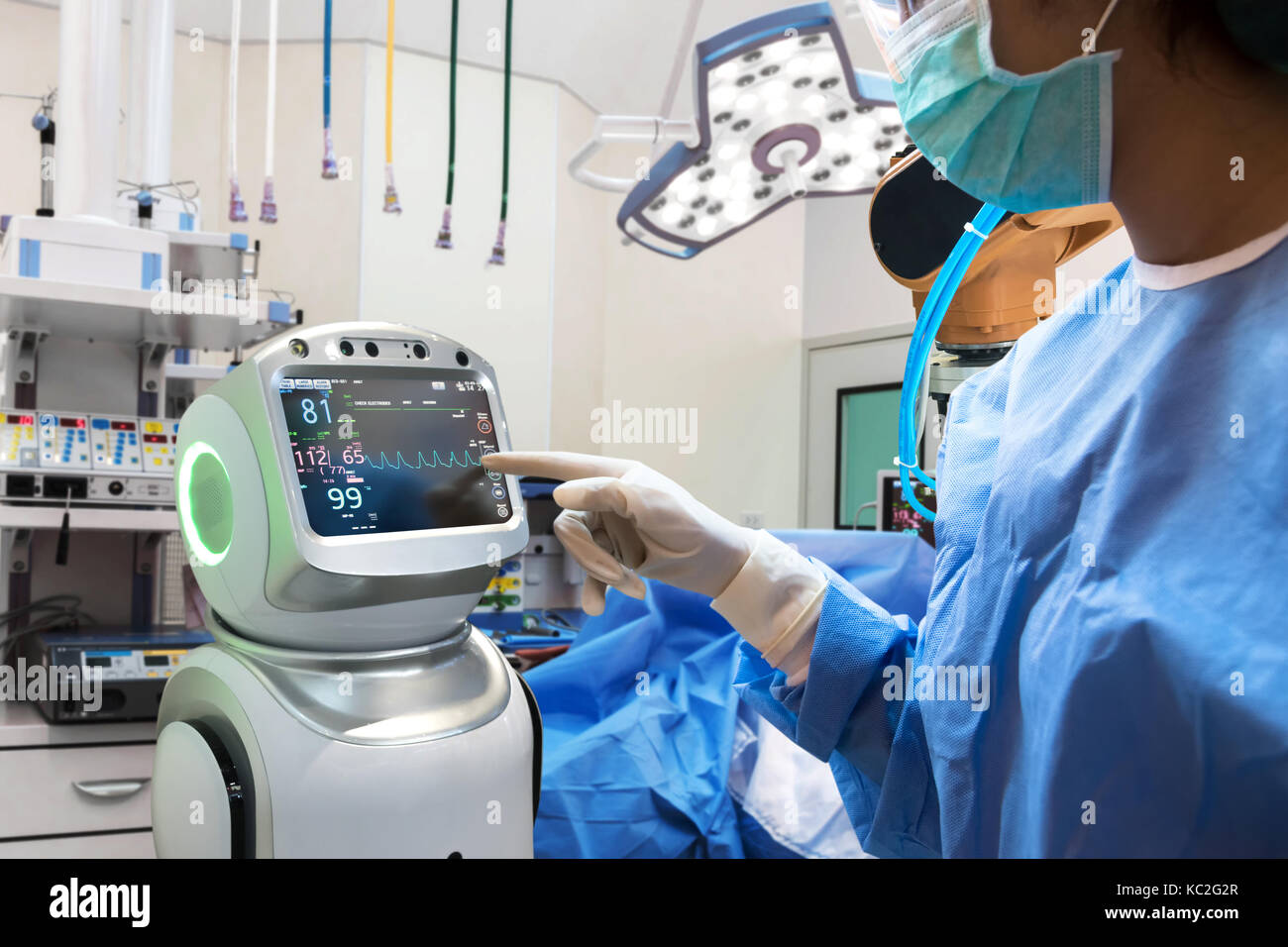 Robotic Advisor Service Technology In Healthcare Smart Hospital Artificial Intelligence Concept Surgury Doctors In Operating Room And Robot Display