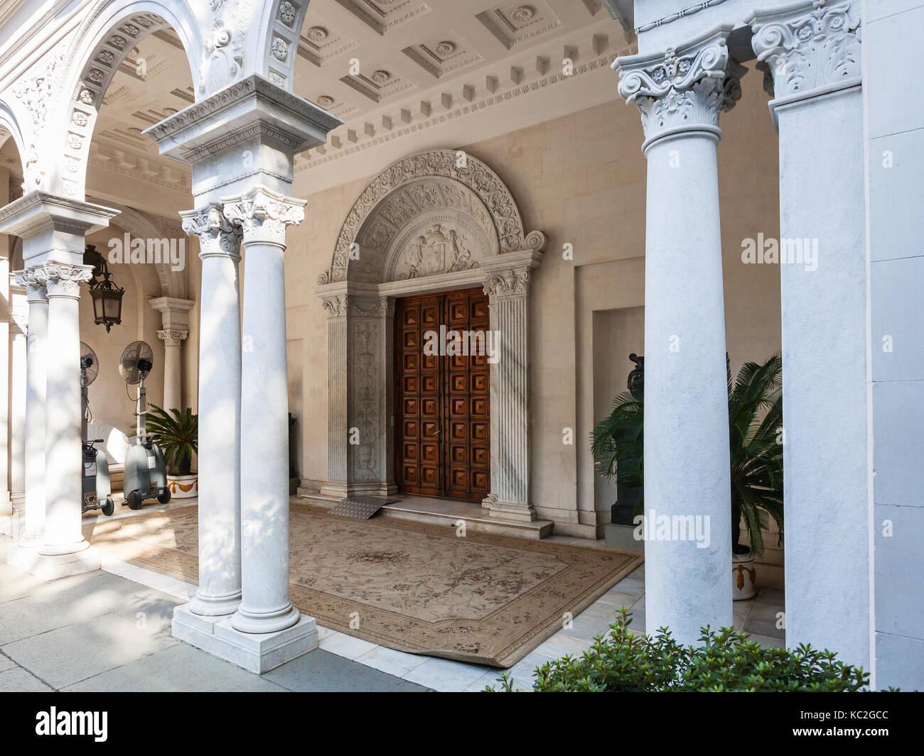 LIVADIYA, CRIMEA - SEPTEMBER 21, 2017: entrance to Livadia Palace. The palace was the summer residence of the Russian - Stock Image