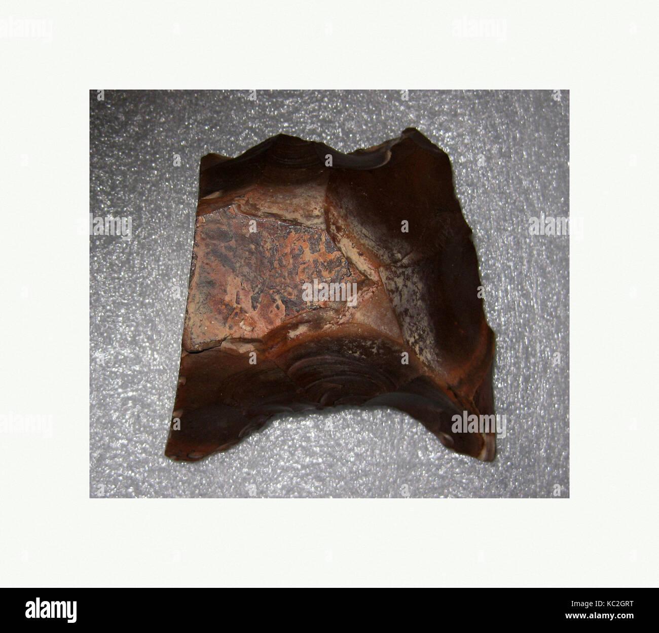 Tool, Lower Paleolithic Period, ca. 300,000–90,000 B.C., From Egypt, Upper Egypt, Thebes, Libyan Desert, Flint - Stock Image