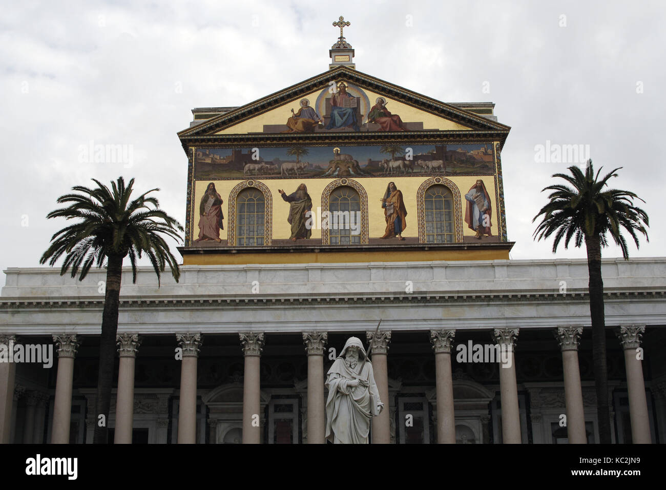 Italy. Rome. Exterior of Basilica of Saint Paul Outside the Walls. Reconstruction of Facade. Neoclassical style. - Stock Image