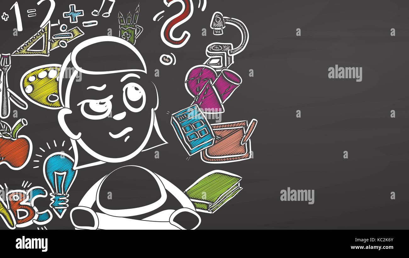 Back to School Girl on Blackboard, handdrawn vector sketch, clean outlines, vintage style blackboard. - Stock Image