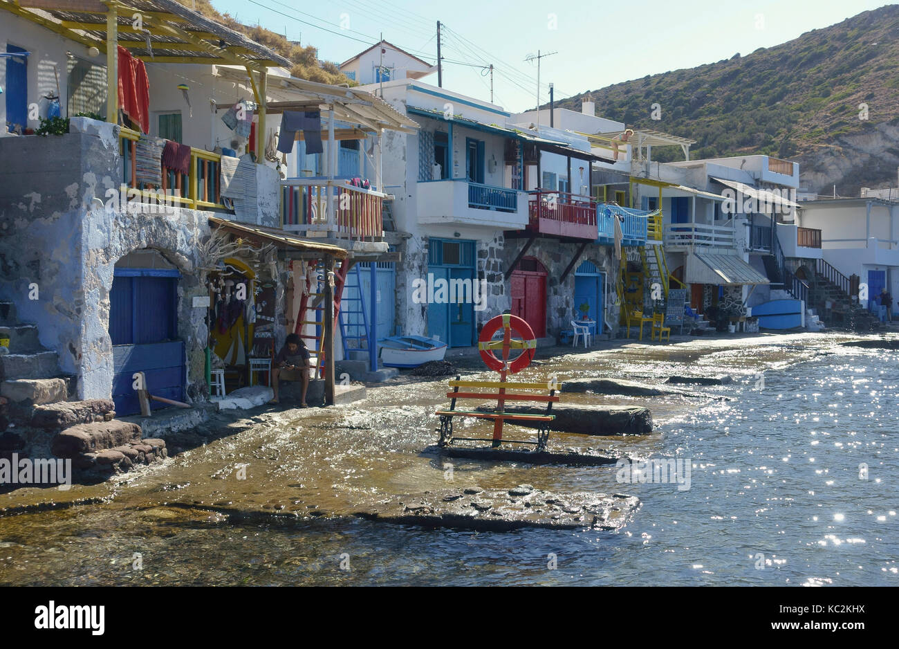 The boat houses on Klima front Milos Greece - Stock Image