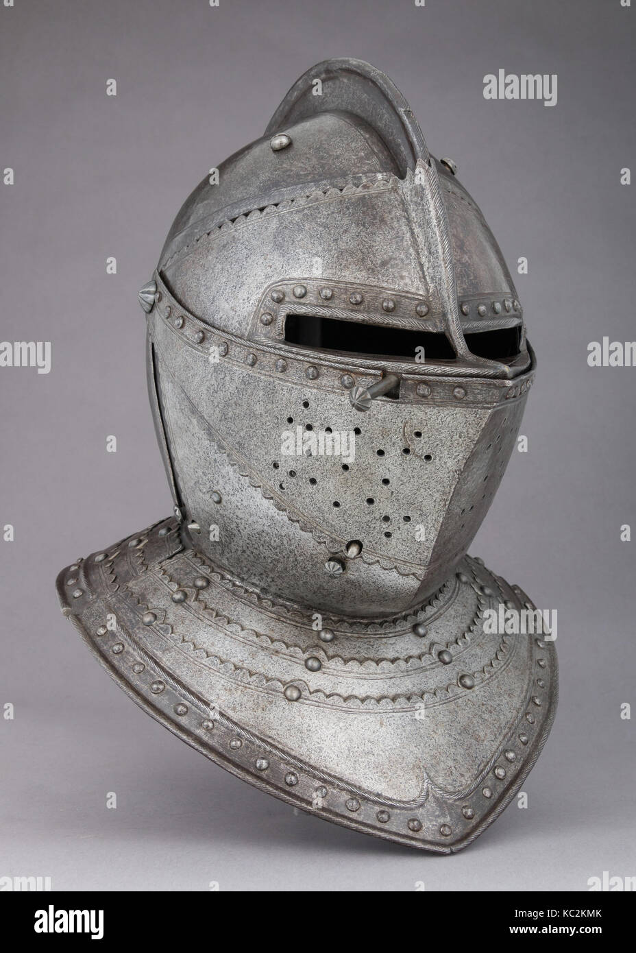 Close-Helmet for the Field, ca. 1620–30, French, Steel, gold, H. 15 3/4 in. (40 cm); W. 11 3/8 in. (28.9 cm); D. Stock Photo