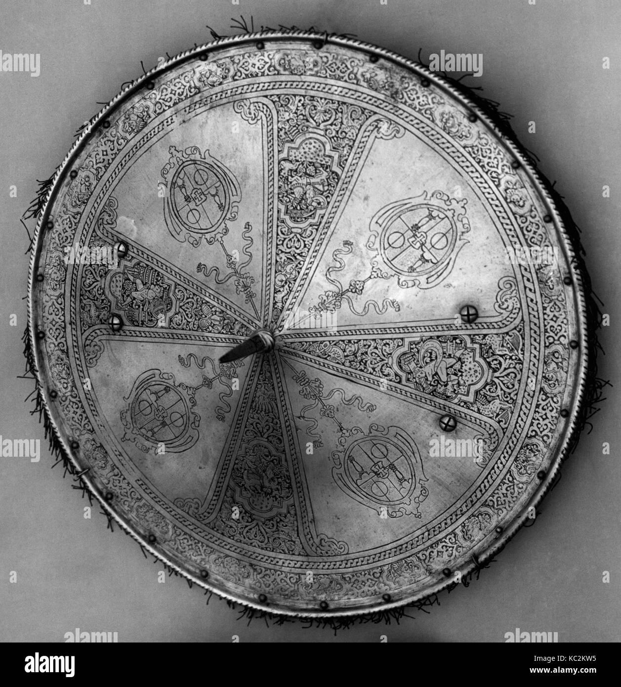 Shield, ca. 1570–80, Italian, Steel, textile, Shields -